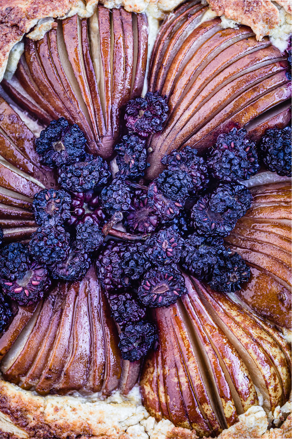 pear & blackberry galette, overheard and up close shot