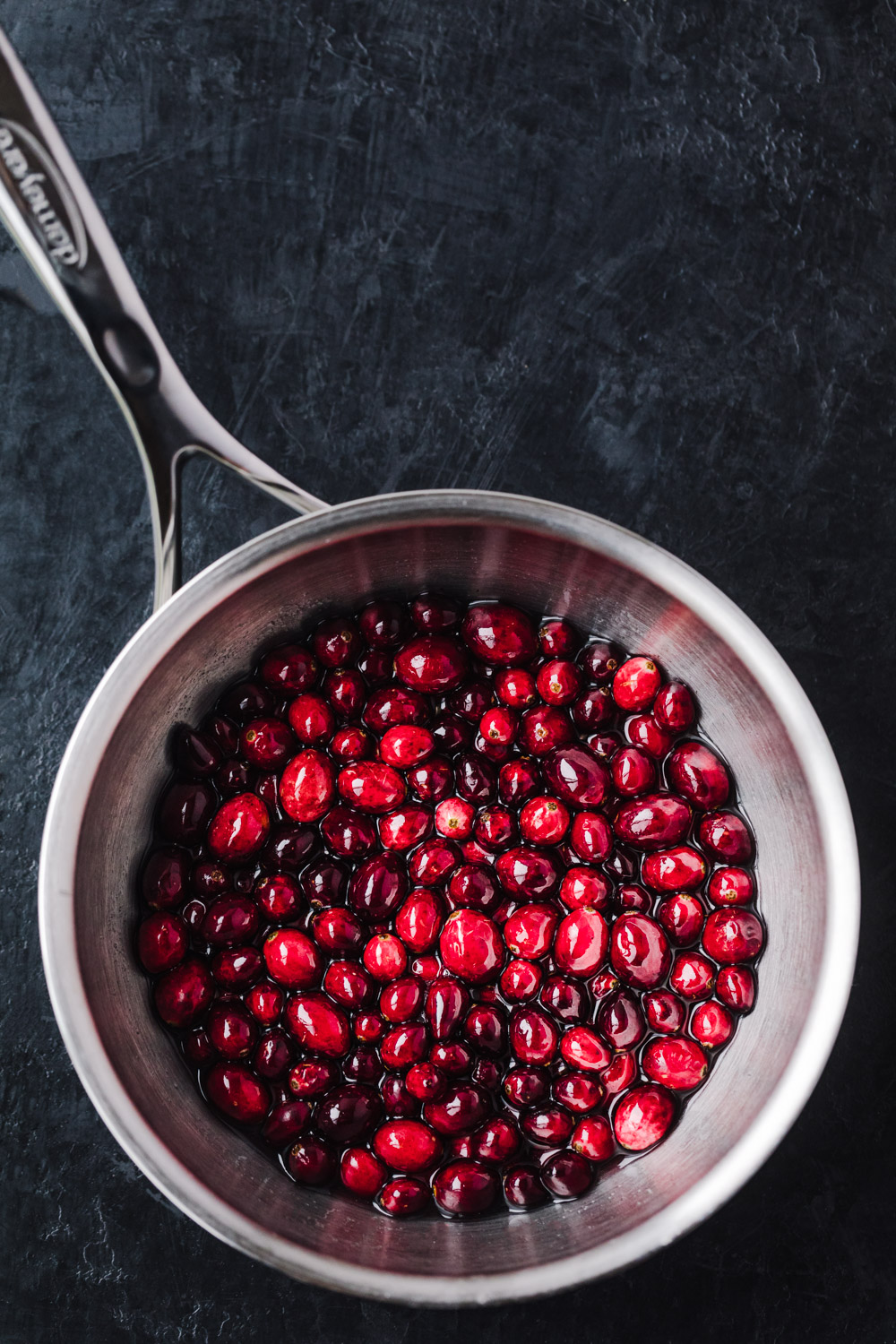 cranberries in simple syrup, overhead shot