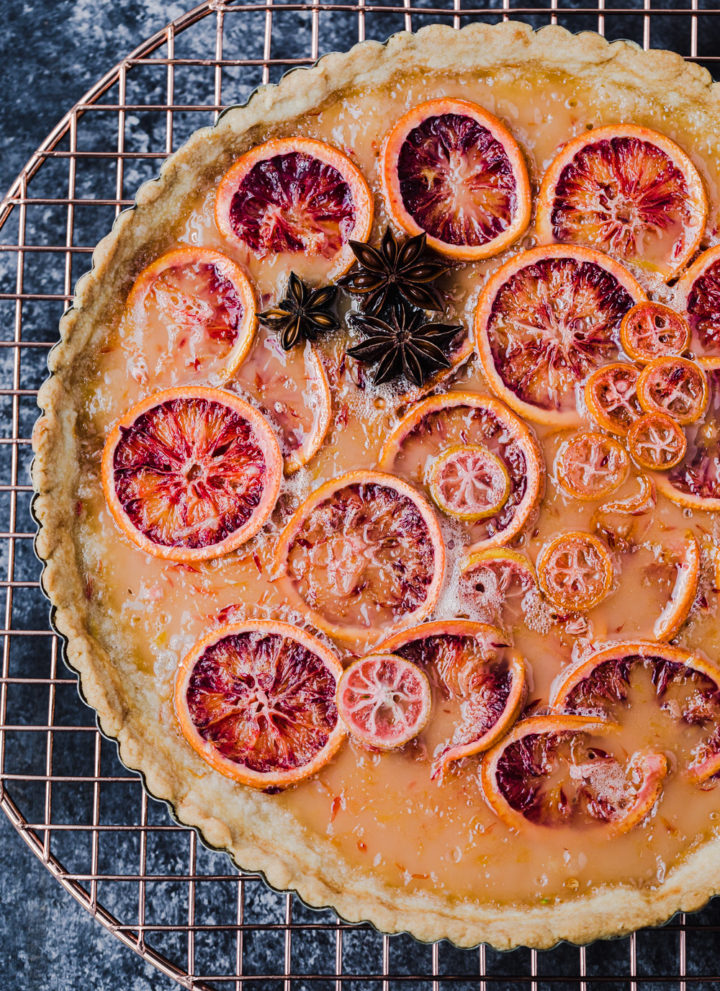 close up shot of the blood orange shaker tart all done!