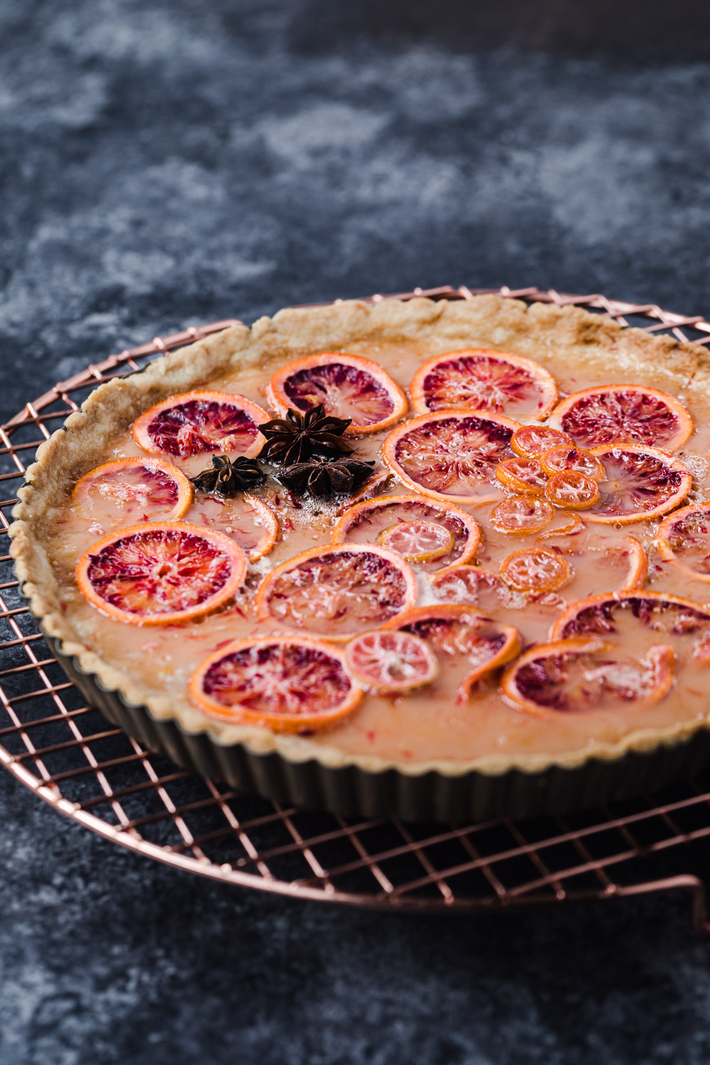 side angle shot of the blood orange shaker tart post oven and all done!