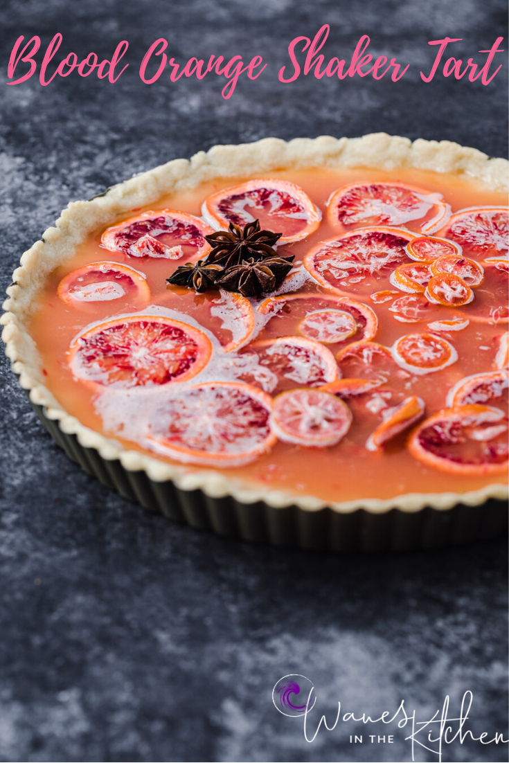 side angle shot of the blood orange and shaker tart with the addition of star anise