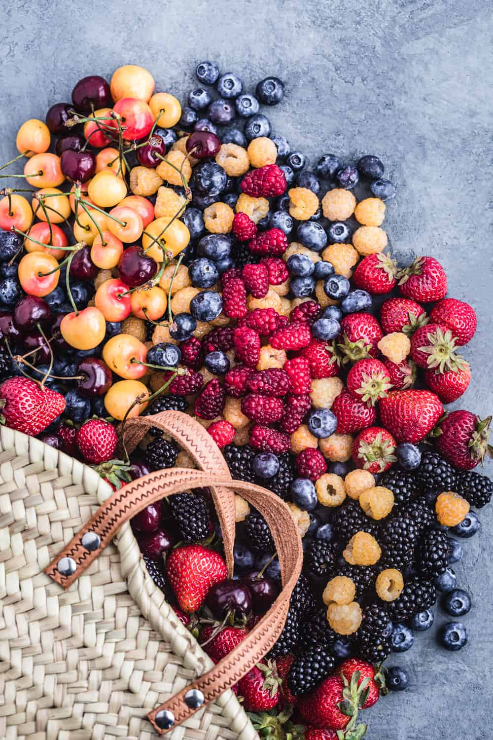 bag overflowing with farmers market fresh berries!