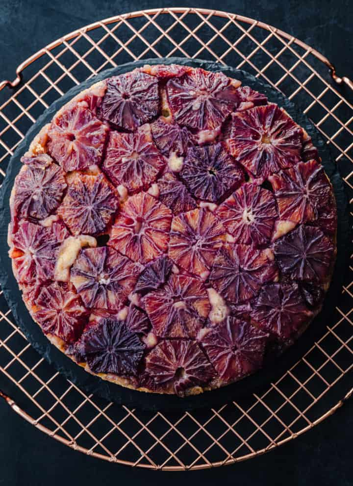 Overhead shot of the upside-down citrus cake, made entirely with blood oranges.