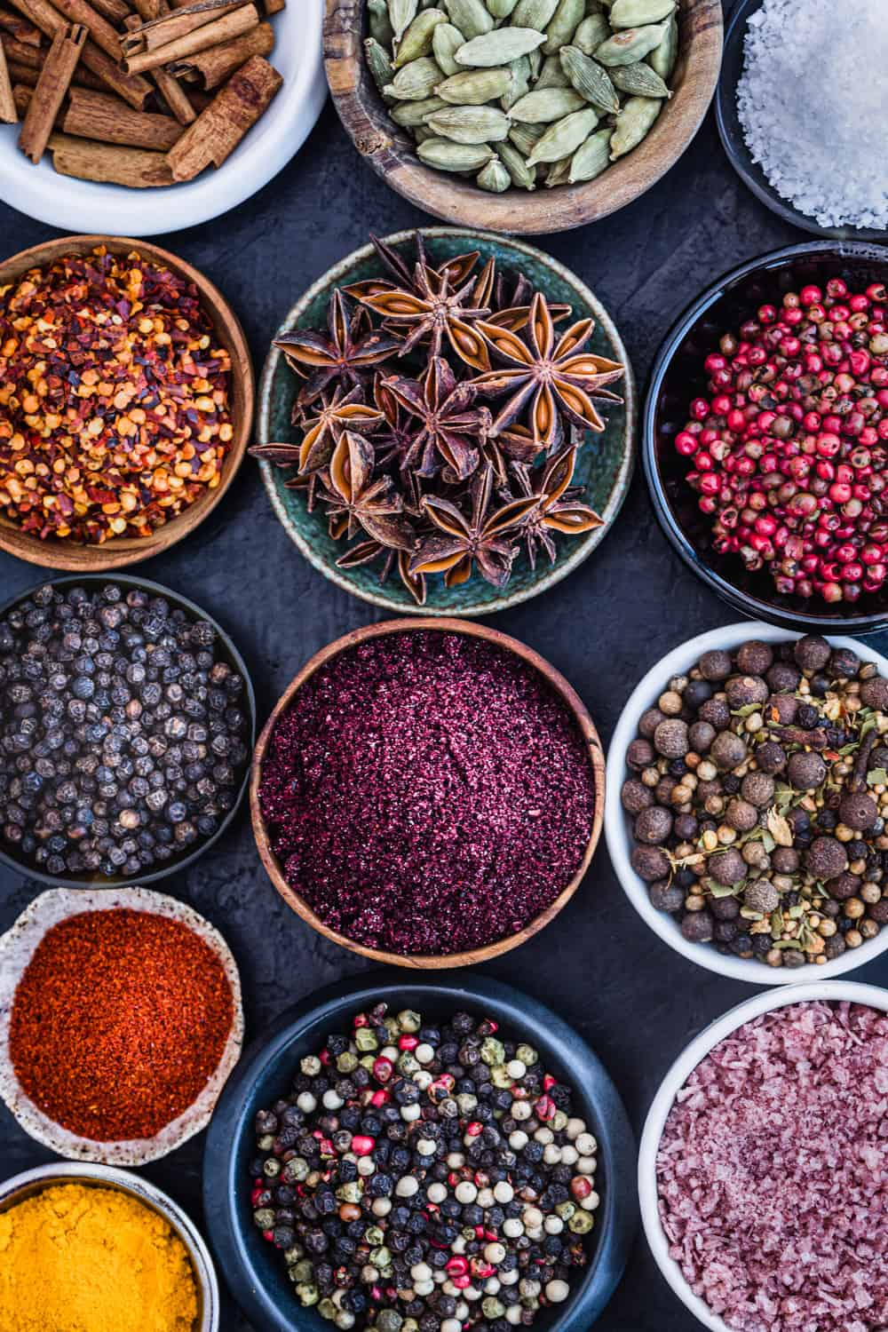 ingredient shot of 13 different spices in little bowls
