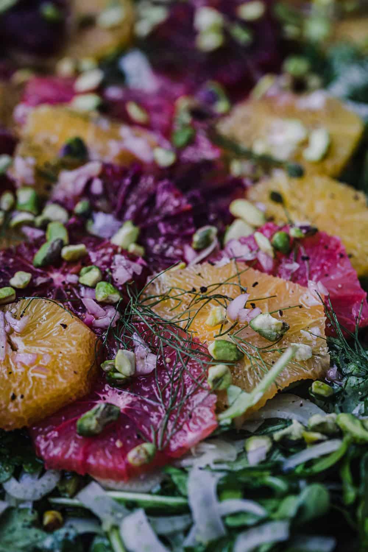 side angle shot of orange and fennel salad