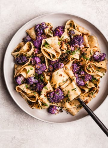 Garlicky Pasta with Cauliflower, Capers Breadcrumbs and a Mustard Brown Butter Pan Sauce