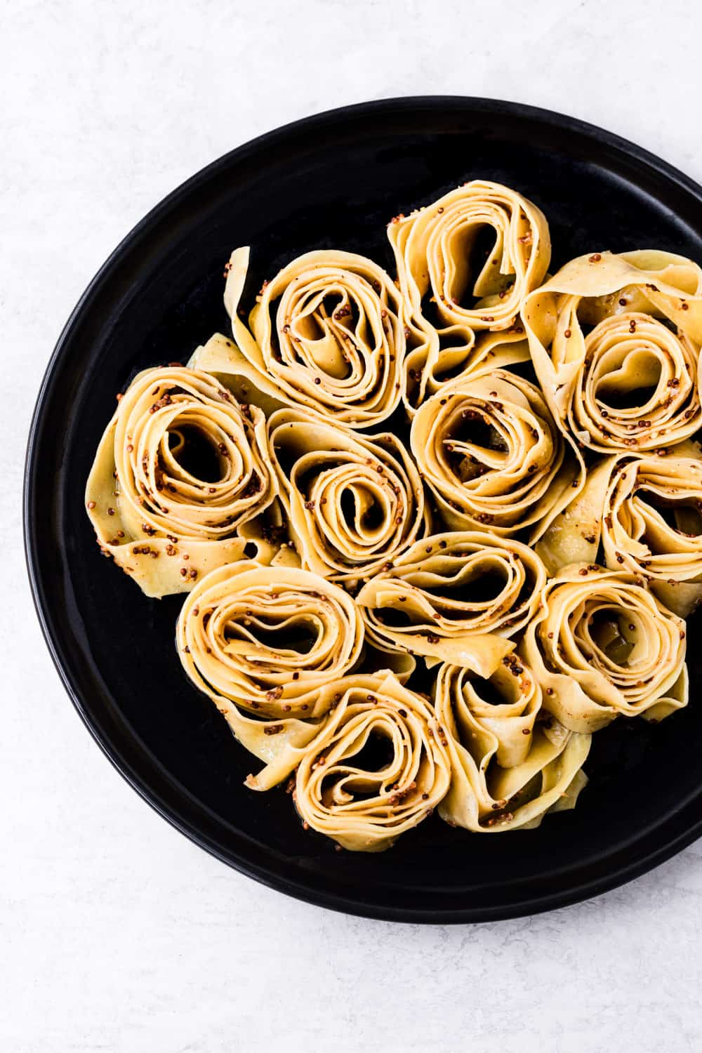 in process shot of the pappardelle, overhead shot