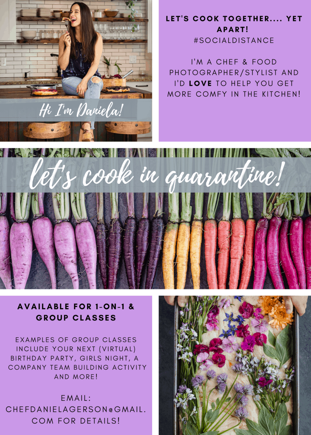 Flyer about Cooking Classes with Daniela Gerson