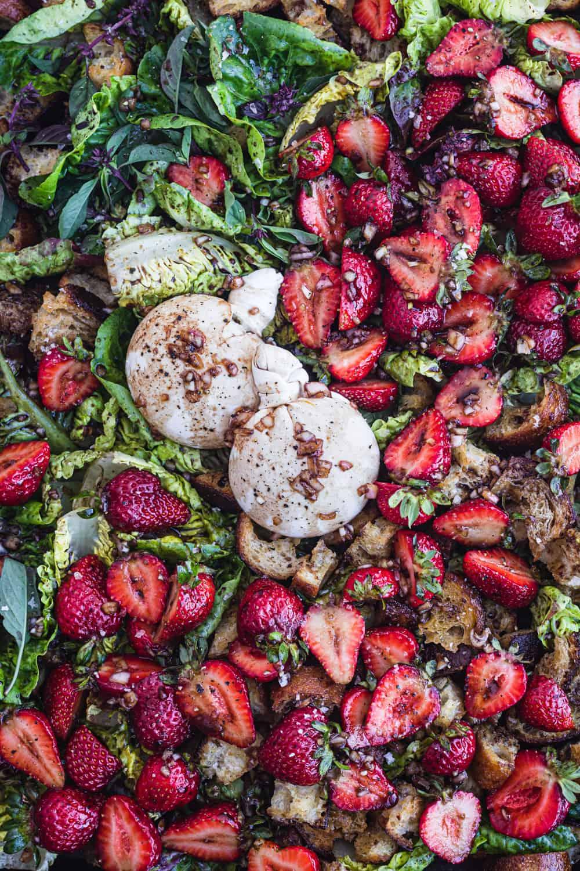 summer strawberry panzanella with burrata