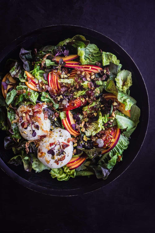 summer stone fruit & crispy prosciutto salad