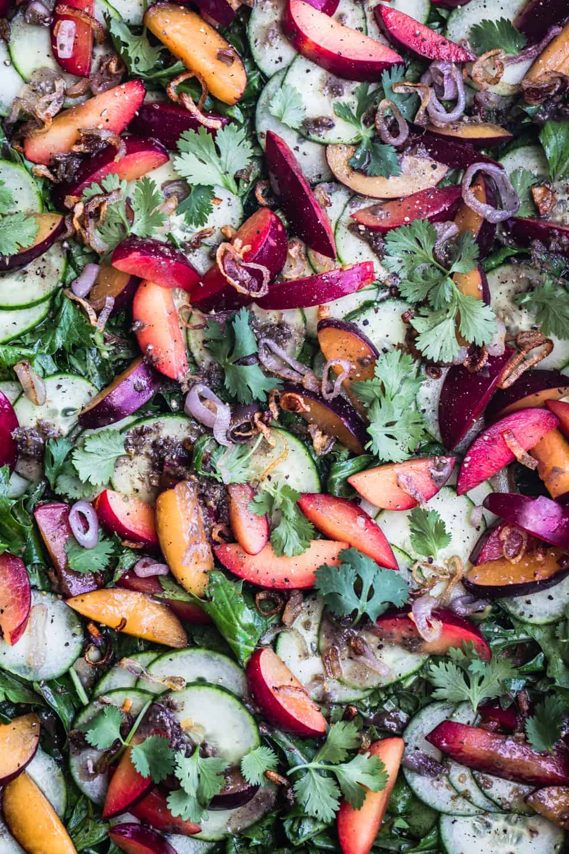 plum & cucumber salad with roasted ginger vinaigrette