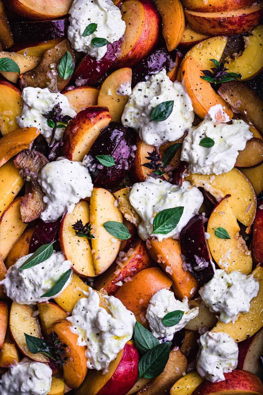 summer stone fruit salad with burrata
