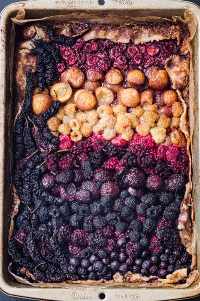berry glatte - post oven! Overhead shot of a very colorful mixed berry galette.