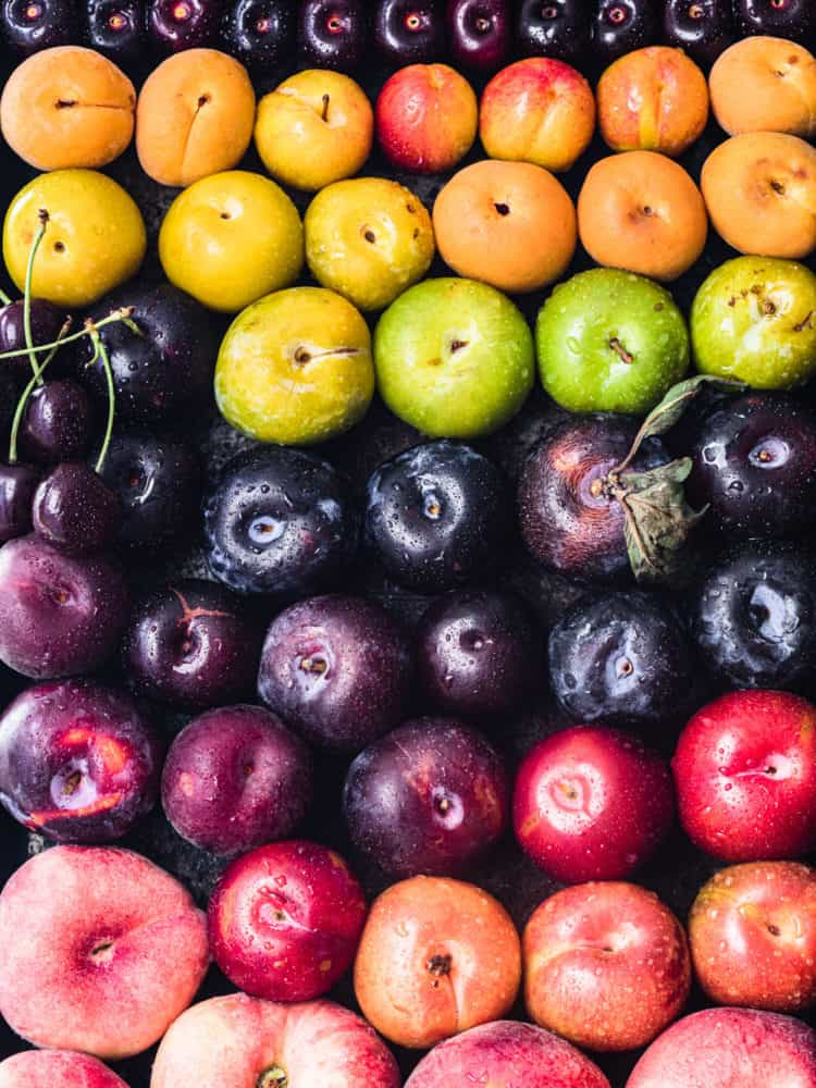 Whole raw different varieties of stone fruits in all the colors of the rainbow! There's peaches, nectarines, plums, pluots, apricots, cherries and more in purple, red, pink, orange, yellow and green; overhead shot.