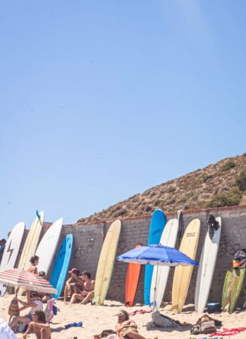Surfers on the beach in LA! surfers enjoying a sunny day on the beach in LA with a bunch of surfboards in the frame.