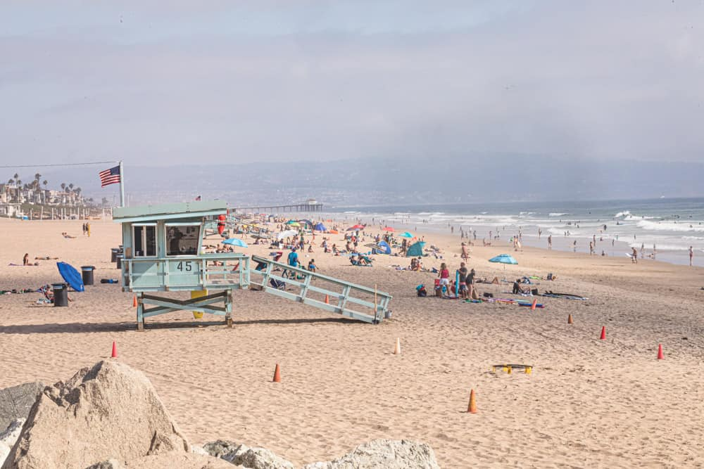 El Porto - Manhattan Beach - you can see the surfers, waves, sand, and sunbathers.
