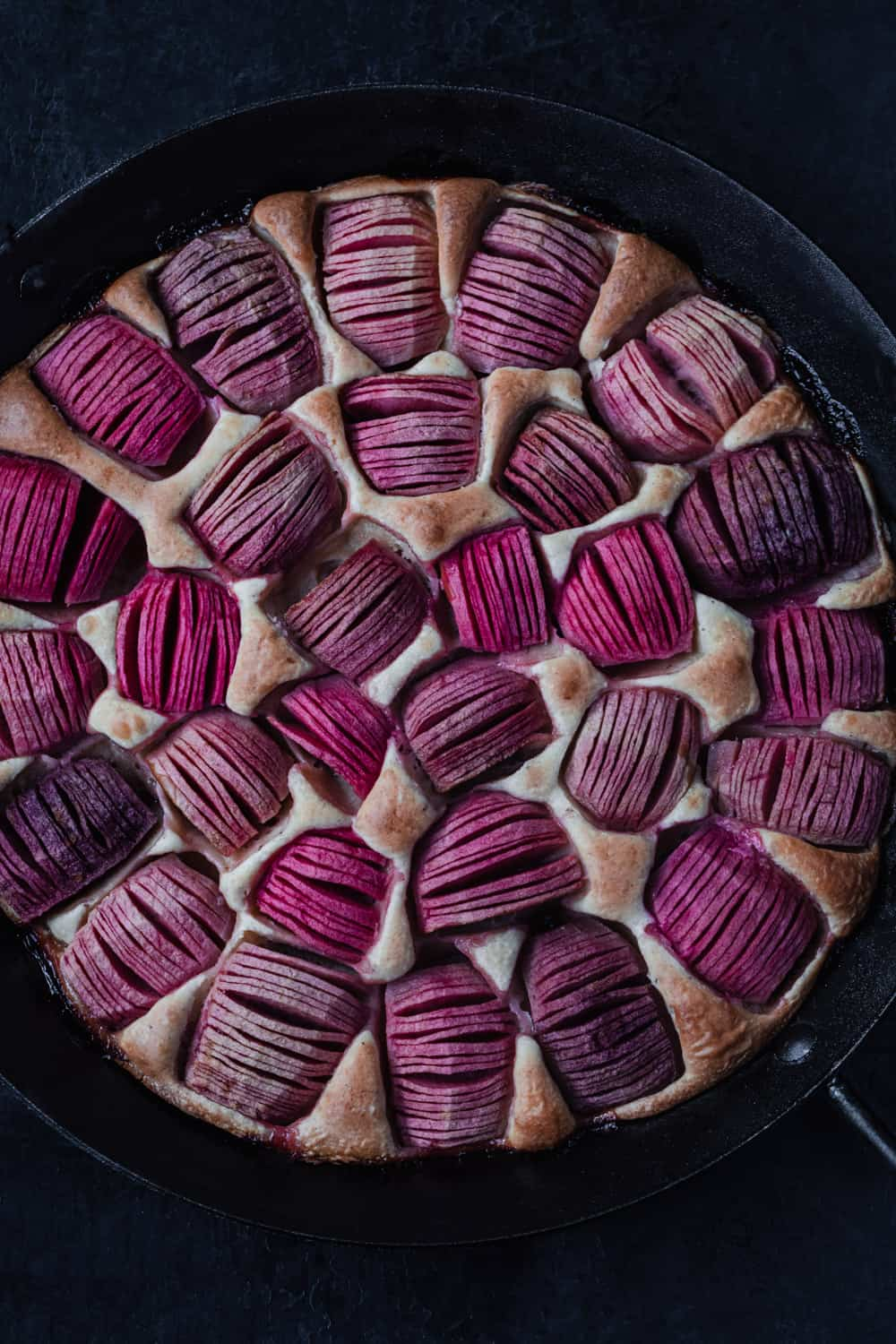 Pink apple cake, in a black cast iron pan, overhead shot on a black background. The color of the pink apples is a vibrantly hot pink and they really pop on the cake!