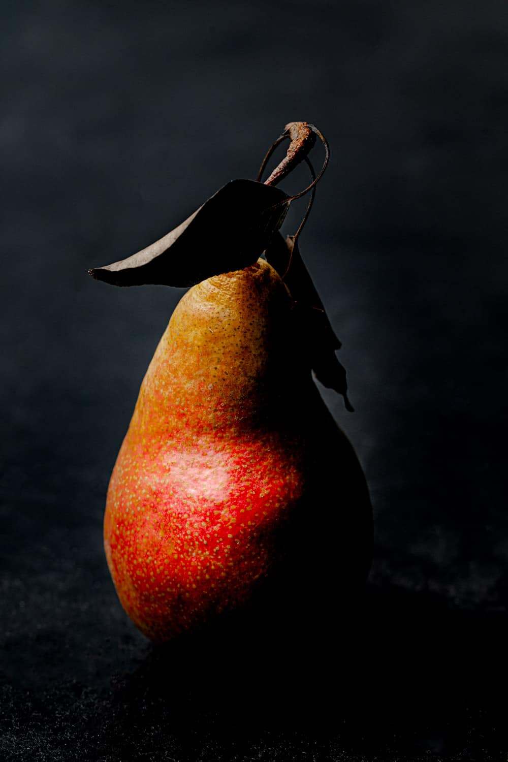 One red pear, with leaves still on it, straight on and up close shot, on a black background.