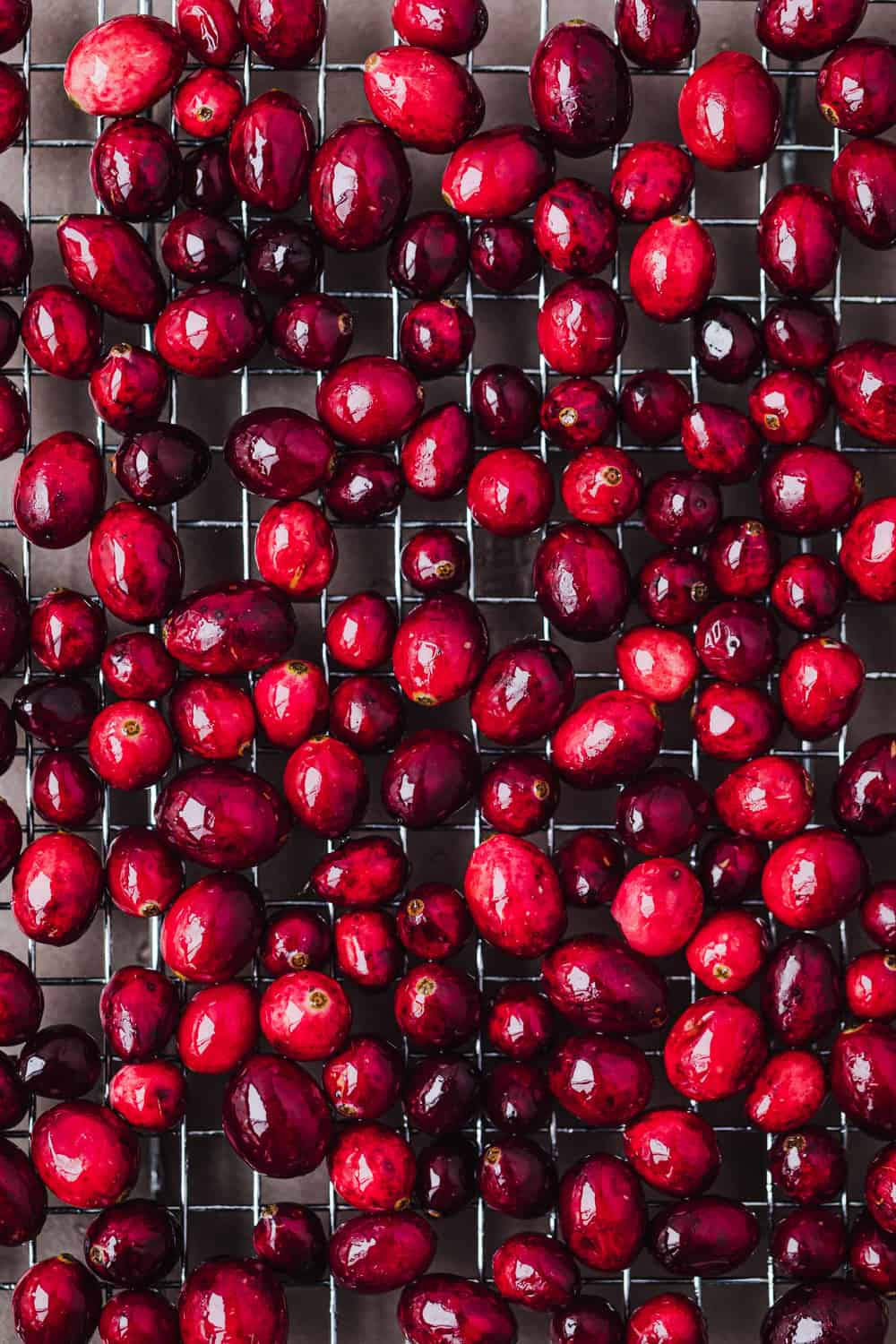 In process shot of cranberries being candied and drying on a wire rack; overhead shot.